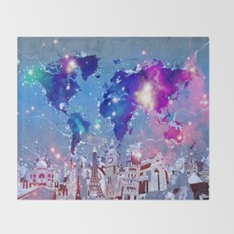world map city skyline galaxy Throw Blanket