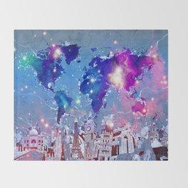 world map city skyline galaxy Throw Blanket