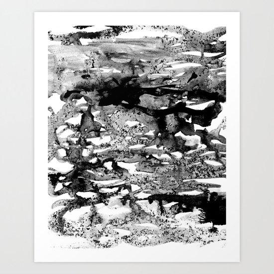 Dexa - black and white minimal abstract painting brushstrokes artwork modern home decor piece Art Print