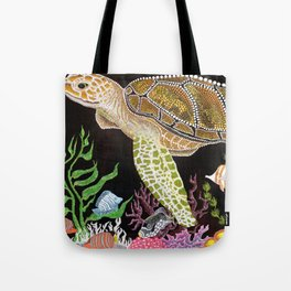 Sea Turtle, Reef Fish Tote Bag