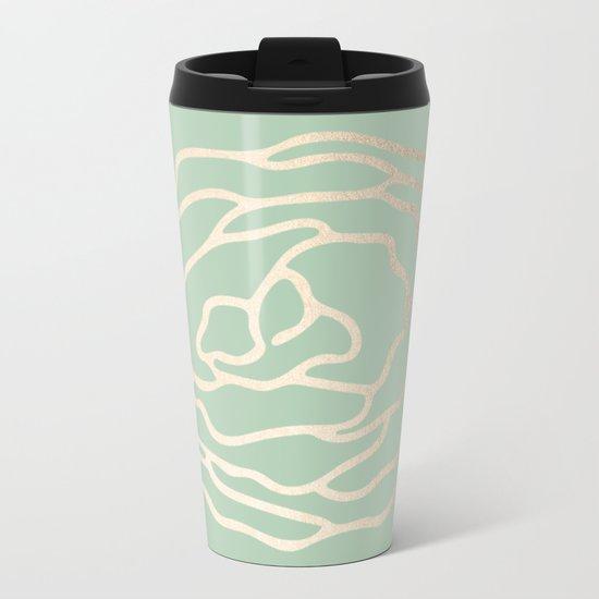 Rose White Gold Sands on Pastel Cactus Green Metal Travel Mug
