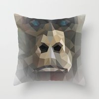 ape Throw Pillows featuring ape by muszka