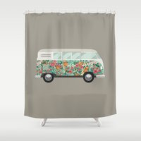 van Shower Curtains featuring Hippie van by eARTh