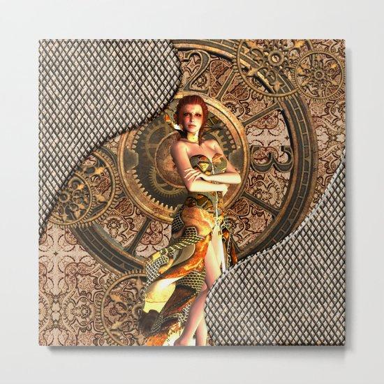Steampunk, beautiful steam women Metal Print