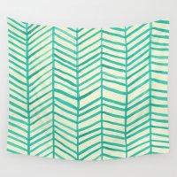 herringbone Wall Tapestries featuring Mint Herringbone by Cat Coquillette