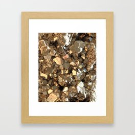 Golden Pyrite Mineral Framed Art Print