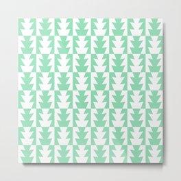 Art Deco Jagged Edge Pattern Mint Green Metal Print