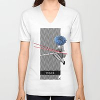 vogue V-neck T-shirts featuring Vogue by Frank Moth