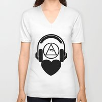 code V-neck T-shirts featuring CODE by LoveArtMusic®