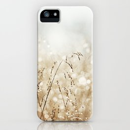 Dewdrop Nature Photography, Neutral Dew Drop, Gold White Brown Beige, Cream Water Drops iPhone Case