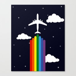 Rainbow airplane Canvas Print