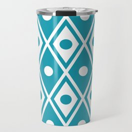 Harlequin Pattern Cerulean Blue Travel Mug