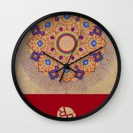 Rubino Mandala Design Pattern Red Wall Clock