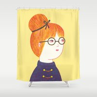 redhead Shower Curtains featuring Redhead by Ana Albero