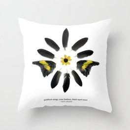 feather mandala... goldfinch wings, crow feathers, black eyed susan Throw Pillow