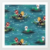 mermaids Art Prints featuring Mermaids by Miss Fortune