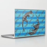 otters Laptop & iPad Skins featuring Swimming Otters by Curious Nonsense.