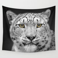 snow leopard Wall Tapestries featuring Snow Leopard by Linsey Williams Art
