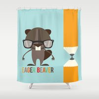 beaver Shower Curtains featuring Eager Beaver by Steph Dillon