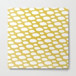 White Clouds on Mustard Yellow Metal Print
