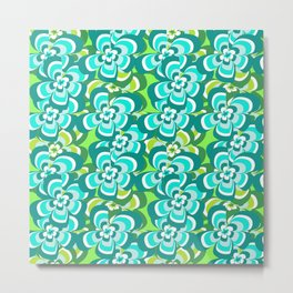 green and blue floral pattern Metal Print