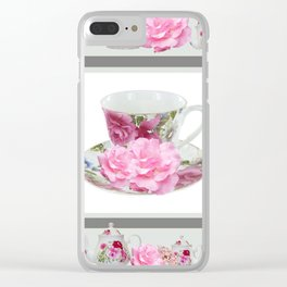 ABSTRACTEd PINK ROSE TEA TIME PORCELAIN ART Clear iPhone Case