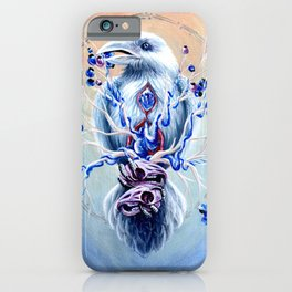 White Raven Bird with Mouse Skulls and Fruit iPhone Case
