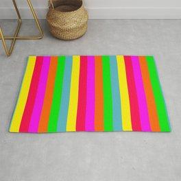 Neon Hawaiian Rainbow Cabana Stripes Rug