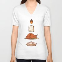 thanksgiving V-neck T-shirts featuring thanksgiving by Ceren Aksu Dikenci
