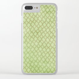 Green Snake Print Clear iPhone Case