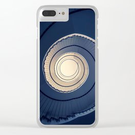 Spiral staircase in ark blue and sand tones Clear iPhone Case