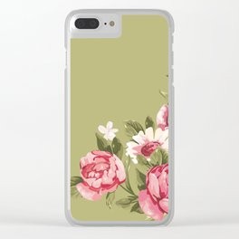 Pink Roses and Daisies Clear iPhone Case