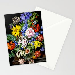 Floral Still Life with Pomegrenate by Sebastian Wegmayr - Vintage Painting Stationery Cards