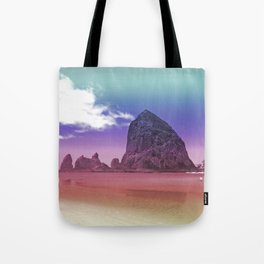 Rainbow Beach Haystack Rock Cannon Beach Oregon Coast Geology Landscape Nature Tote Bag