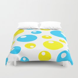 Soda Bubbles - Teal and Yellow Duvet Cover