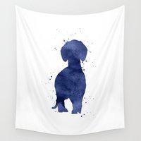 dachshund Wall Tapestries featuring Dachshund by Carma Zoe