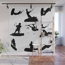 Wakeboarder Silhouette Collage Wall Mural