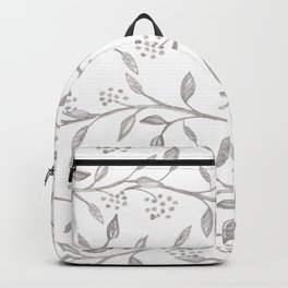 Gray ivory hand drawn watercolor leaves floral berries pattern Backpack