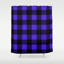 Midnight Blue and Black Buffalo Plaid Shower Curtain