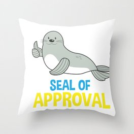 Animal Lover Funny Sea Lion Seal of Approval Gift Throw Pillow