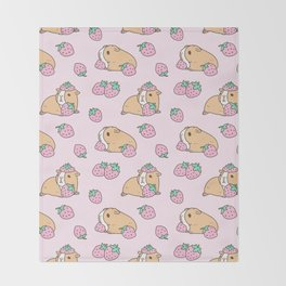 Pink Strawberries and Guinea pig pattern Throw Blanket