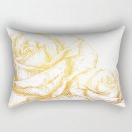 Vintage Roses Floral Gold Decorative Rectangular Pillow