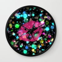 kiss Wall Clocks featuring KISS by Yilan