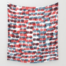 Red and Blue short brushstrokes - Sarah Bagshaw Wall Tapestry
