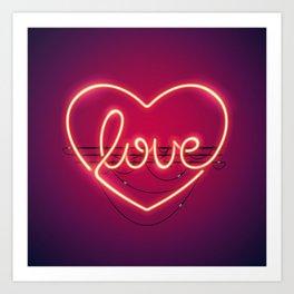 Love Heart Neon Sign Art Print