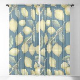 Lemon Fresh Blue Sheer Curtain