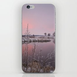 Winter Sunset At River Bank iPhone Skin