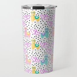 Funny cute teal pink romantic lama black polka dots Travel Mug