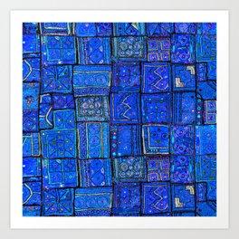 V2 Calm Blue Traditional Moroccan Cloth Texture. Art Print