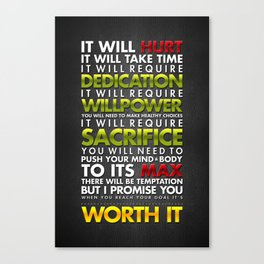 It's Worth It: Typography Canvas Print